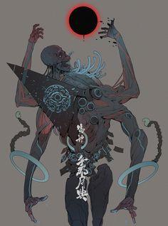 Madcat's favorite Art — False God: the Moon Maze - Ching Yeh Science Fiction, Monster Design, Monster Art, Creature Concept Art, Creature Design, Art And Illustration, Dark Fantasy Art, Character Concept, Character Art