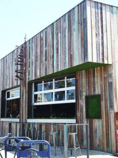 restaurant in Ocean Beach, CA using reclaimed wood as exterior cladding.