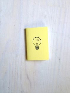 Small Notebook: Lightbulb, Idea Notebook, Humor, Hipster, Yellow, Cute, Wedding, Kids, For Her, For Him, Mini Journal, Stamped, Unique