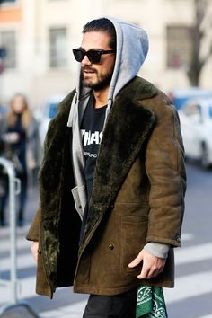 Giotto Calendoli Streetstyle beard hoodie menstyle shearling