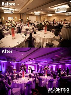 Purple Doubletree Hilton Wedding Uplighting Example from Uplighting America, Atlanta Wedding and Special Event Uplighting. See more at www.uplightingamerica.com