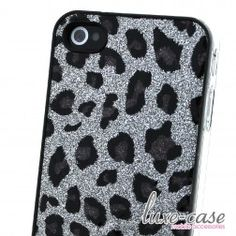 The Spots of a Cheetah Silver Glitter iPhone 4/4S Case luxe-case.com