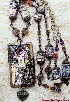 Paper Bead Necklace Chip Board Pendant by PassionForPaperBeads, $50.00