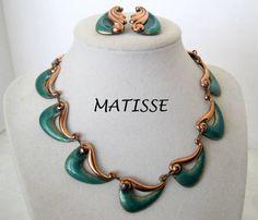 Vintage Matisse Renoir Enamel Copper Necklace