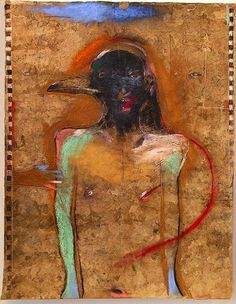 Rick Bartow. Raven for Francis Bacon , 2008  Pastel, graphite, charcoal on amate paper