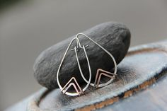 Teardrop geometric mixed metal hoops triangle by Keepandcherish