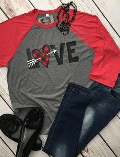 132c5f71b Love Valentine Shirt, Buffalo Plaid Valentines Day Shirt, Women Valentines  Shirt, Valentines Day Raglan Women, Love Raglan, Heart Valentine