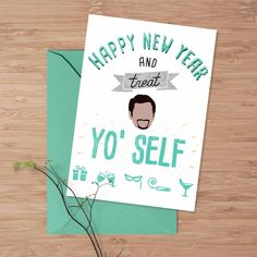 """New to DesignGenesStudio on Etsy: Happy new years card Tom Haverford """"Treat Yo Self"""" card parks and rec printable new years card witty greeting card funny new years card (5.00 USD)"""