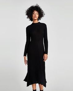 Image 2 of RIBBED DRESS WITH BOW from Zara