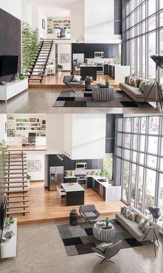 Không gian sống và làm việc thật hoàn hảo với mẫu thiết kế nội thất đầy ánh sáng