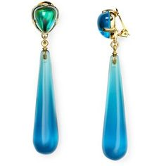 Kenneth Jay Lane Aqua Clip-On Earrings