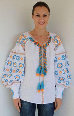 Fanm Mon Summer White Linen Round Neck Orange Blue Vyshyvanka Blouse Embroidery size XS-XXL BLO0106