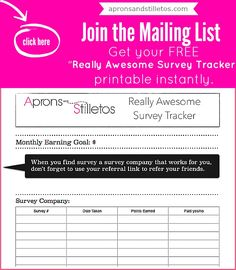 Here#39;s Your FREE Really Awesome Survey Tracker