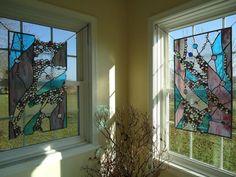 "Vidrieras abstractas Nuggets travesaño ventana Suncatcher Panel cenefa 30 ""x 18"""