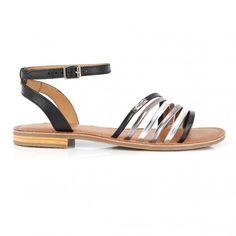 Sandale en cuir multicolore Hindle noir multi   Les Tropeziennes