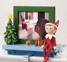 Collectibles, Nativity Sets & Gifts - Elf on the Shelf Stocking Holder with Photo Frame - Christmas Lights, Etc Christmas Tree And Santa, Christmas Decorations For The Home, Christmas Lights, Christmas Holiday, Christmas Stocking Hangers, Christmas Stockings, The Elf, Elf On The Shelf, Photo Frame Decoration