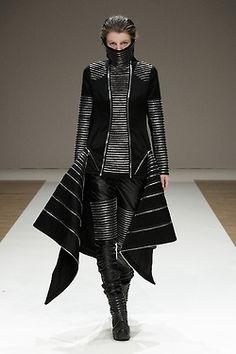 Futuristic Clothing, future girl, fashion show, futuristic style, futuristic look, girl in black