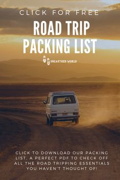 A road trippers dream, a packing list for you to download and use as a check list!