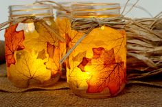 DIY Thanksgiving Decor Ideas - Leaf Mason Jar candle Holder - Fall Projects and Crafts for Thanksgiving Dinner Centerpieces, Vases, Arrangements With Leaves and Pumpkins - Easy and Cheap Crafts to Make for Home Decor http://diyjoy.com/diy-thanksgiving-decor-ideas