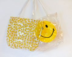 Vintage 90s Clear Plastic Smiley Face Tote