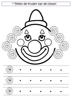 * Teken de krullen van de clown! Clown Crafts, Carnival Crafts, Pre Writing, Writing Skills, Preschool Worksheets, Preschool Activities, Theme Carnaval, Circus Theme, Fine Motor Skills