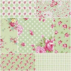 Rosey Fat Quarter Bundle in Green - pink and blue too