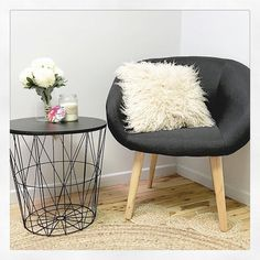 "Chair & side table (black top comes off like a lid so you can store ""stuff"" in there)...all @kmartaus both under $50 - thanks for sharing @the_4224_collective awesome styling ✨✨ #iheartkmart"