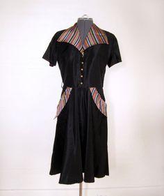1940s taffeta dress