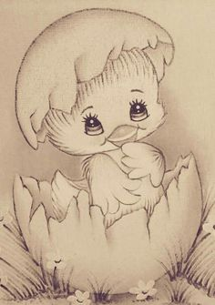 Bebes Girl Drawing Sketches, Baby Drawing, Pencil Art Drawings, Cute Drawings, Animal Drawings, Baby Painting, Cartoon Painting, Fabric Painting, Disney Drawings
