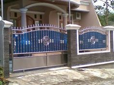 Front Wall Design, Grill Gate Design, House Main Gates Design, House Fence Design, Steel Gate Design, Door Gate Design, Wrought Iron Driveway Gates, Iron Garden Gates, Fachada Colonial