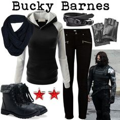 Character: Bucky Barnes/The Winter Soldier Fandom: Marvel Film: Captain America: - Fandom Shirts - Ideas of Fandom Shirts - Character: Bucky Barnes/The Winter Soldier Fandom: Marvel Film: Captain America: The Winter Soldier Buy it here! Marvel Inspired Outfits, Disney Themed Outfits, Character Inspired Outfits, Marvel Mode, Moda Marvel, Marvel Fashion, Cosplay Casual, Cosplay Outfits, Emo Outfits