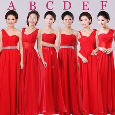 free shipping 2014 new wedding bridesmaid dress red wedding dress bridesmaid dress evening dress long paragraph long section sis US $28.30