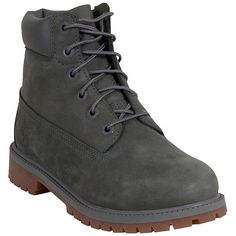 Timberland Women's Premium 6-Inch Gray Monochrome Boot ($130) ❤ liked on Polyvore featuring shoes, boots, grey, front lace up boots, water proof shoes, laced up boots, grey shoes en waterproof shoes