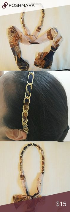 GOLD CHAIN HEADBAND blue and gold tie headband   has an Hermes vibe to it Accessories Hair Accessories