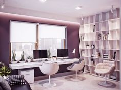 Modern Fresh Home Office with Double iMac. | Ideas for #homeoffice | Design | Decoration | Desk | Organization | Purple | Chairs