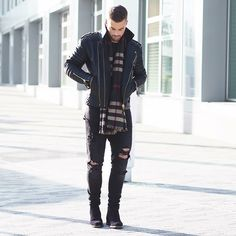 Leather biker jacket +scarf street style for men. Men s Fashion brought to  you by Tom Maslanka eb3fde870