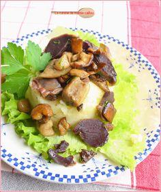 écrasée de pommes de terre, cèpes et gésiers confits