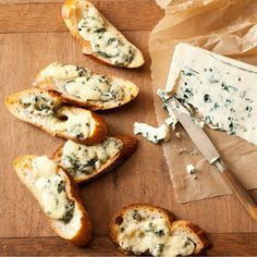 These Blue Cheese Crisps are perfect when you need a fast appetizer or cocktail party snack! Cheese Crisps, Cheese Bread, Cheese Toast, Cheese Dishes, Appetizers For Party, Yummy Appetizers, Appetizer Dips, Appetizer Recipes, Cheese Appetizers