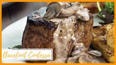 Filet Mignon in a Whiskey Pan Sauce with Mushrooms & Potato-Leek Squares Steak And Whiskey, Whiskey Sauce, Beef Recipes, Cooking Recipes, Grilling Recipes, Gorgonzola Sauce, Omaha Steaks, Beef Steaks, Cooking