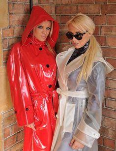 Adorable red pvc worn by Frankie Vinyl Raincoat, Blue Raincoat, Plastic Raincoat, Plastic Pants, Hooded Raincoat, Parka, Imper Pvc, Mode Latex, Plastic Mac