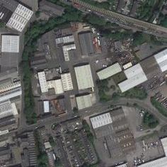 Aerial photographic view of Dyeworks (Keighley, West Yorkshire).