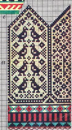 ВЯЗАНИЕ ДЛЯ СУМАСШЕДШИХ Knitted Mittens Pattern, Fair Isle Knitting Patterns, Knit Mittens, Knitting Charts, Knitting Socks, Mitten Gloves, Hand Knitting, Crochet Cross, Crochet Chart