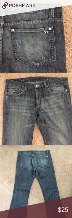 Joe's Jeans Boot Cut Men's PLEASE FORGIVE SPLIT PHOTOS. POSHMARK UPDATES WONT ALLOW MY APPLE PRODUCTS TO CROP. MISSING FRONT BUTTON TOP!!!!! 100% cotton. Machine wash cold. Hems are slightly worn. MISSING FRONT BUTTON TOP!!!! Joe's Jeans Jeans