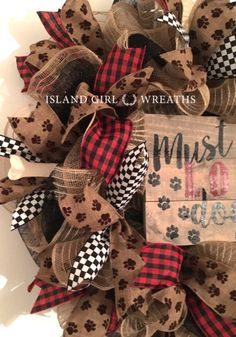 This wreath is in diameter and about in depth. It's made on a work wreath form using a black deco mesh as it's base. It's layered with two different checkered mesh and is embellish with 4 different wired ribbons a must love dogs wood sign. Burlap Ribbon, Burlap Wreath, Dog Wreath, Dog Bones, Wreath Forms, Dog Signs, Wired Ribbon, Dog Paws, Wreaths For Front Door