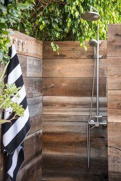 outdoor shower reclaimed wood