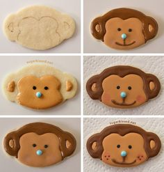 How To Make Lion and Monkey Cookies for a Jungle Party Cookies For Kids, Fancy Cookies, Iced Cookies, Cute Cookies, Royal Icing Cookies, Cupcake Cookies, Sugar Cookies, Crazy Cookies, Monkey Cookies