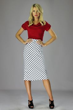 Modest Skirts in White/Black Polka Dot