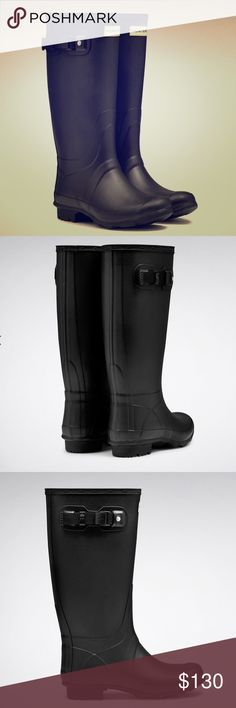Women's Hunter tall boot matte black size 10 The Huntress rain boot is a durable design, handcrafted from a new soft rubber compound. This feminine style features a lower leg length and wider calf for optimum comfort. In a zigzag construction, the Argyll sole is durable, offering high traction and mud release. This is a performance style with high durability Waterproof Handcrafted Plastic buckle, strap holder and strap end Webbing strap New upper pattern Generous calf fitting Sturdy Argyll…