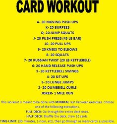 This is a card workout. At home fitness. Minimal equipment and a deck of cards. Card Workout, Workout Songs, Up Fitness, Fitness Routines, Workout Routines, Workout Ideas, Class Routine, Hiit Class, Countdown Workout