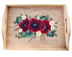 Rose of Sharon Hand Painted Tray van ArtisticLeeDesigned op Etsy